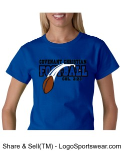 Flying Football - Ladies Gildan 100% Cotton T-Shirt Design Zoom